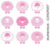 lambs  pastel pink patchwork... | Shutterstock .eps vector #115429357