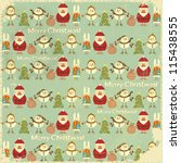 Christmas Vintage background. Signs of Christmas: Santa Claus, snowman, white rabbit and Christmas tree on retro blue background. Vector illustration. - stock vector