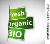 Labels with word: fresh, organic and bio inserting to slot - stock vector