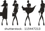 silhouette fashion girls | Shutterstock .eps vector #115447213