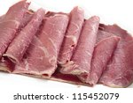 American-style corned beef closeup, with the slices folded back - stock photo