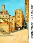 old court yard in barcelona,  illustration, painting on a canvas - stock photo