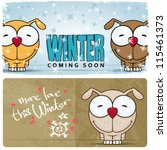 winter vector card with funny... | Shutterstock .eps vector #115461373