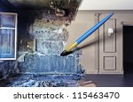 brush, drawing beautiful interior over dirty image. concept - stock photo