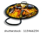 Paella with seafood, Spanish plate in the traditional pan - stock photo