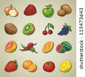Freehand icons - Fruits and vegetables - stock vector