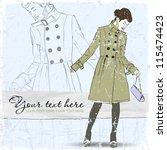 vintage scratched background... | Shutterstock .eps vector #115474423