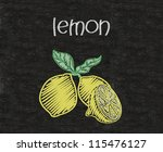 lemon written on blackboard background high resolution - stock photo