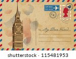 vintage postcard with big ben
