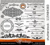 Vintage ornaments and dividers, calligraphic design elements and page decoration, exclusive, highest quality, retro style set of ornate floral patterns template | Shutterstock vector #115484383