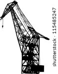 silhouette of the port crane on ... | Shutterstock .eps vector #115485247