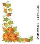 happy halloween trio of carved...   Shutterstock .eps vector #115486603