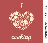 heart shaped kitchen silhouette ...