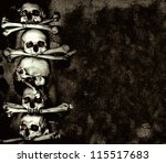 Grunge background with human skulls and bones - stock photo