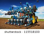 Modern agricultural machinery for planting and harvesting vegetables - stock photo