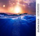 design template with underwater ... | Shutterstock . vector #115520353