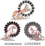 totems   animals with solar... | Shutterstock .eps vector #115525093