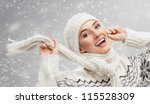 beauty girl on the snow background - stock photo