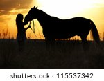 Silhouette of the woman and horse training during sunset - stock photo
