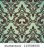 Seamless damask pattern in brown and green colors - stock vector
