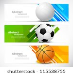 Set of banners with sport balls - stock vector