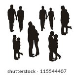couple silhouette isolated over ... | Shutterstock .eps vector #115544407