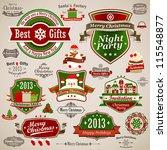 christmas vintage set   labels  ... | Shutterstock .eps vector #115548877