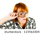 woman with magnifying glass isolated on a white background - stock photo