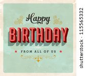 Vintage Birthday Card - Vector EPS10. Grunge effects can be easily removed for a brand new, clean sign. - stock vector
