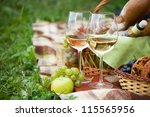 Two glasses of the white wine, picnic theme - stock photo