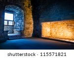 Cold outside and warm inside concept in old castle - stock photo
