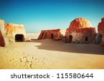 Star wars decoration in Sahara desert - stock photo