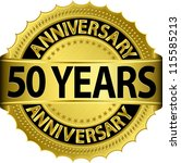 50 years anniversary golden label with ribbon, vector illustration