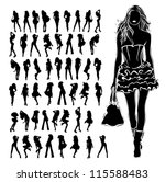 a lot of vector silhouettes of... | Shutterstock .eps vector #115588483