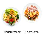 Food plates ready to eat - stock photo