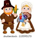 Illustration Of Cute Pilgrims...