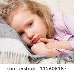 illness child. little girl... | Shutterstock . vector #115608187