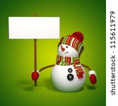 Christmas snowman holding banner - stock photo