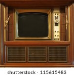 A vintage television set from about sixty years ago - stock photo