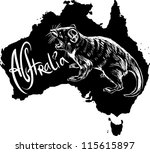 Tasmanian devil (Sarcophilus harrisii) on map of Australia. Black and white vector illustration.