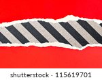 Torn paper with space gray stripes - stock photo