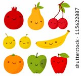 set of cute smiling fruits.... | Shutterstock .eps vector #115622887