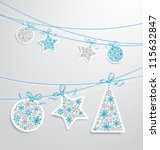 christmas label set with ribbons | Shutterstock .eps vector #115632847