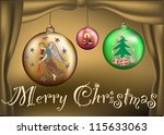 three colors christmas balls in ... | Shutterstock .eps vector #115633063