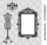 antique frame  mannequin and... | Shutterstock .eps vector #115638667
