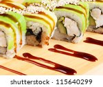Asian food sushi on wooden plate - stock photo