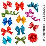 big set of colorful gift bows... | Shutterstock .eps vector #115653073