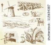agriculture,animal,baker,baking,barrel,bread,cellar,cereal,cheese,corn,cornfield,country,countryside,cow,drawing