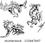 dragon tattoo designs. set of...