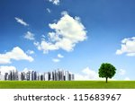 Green environment background with a straight horizon lines of grass field , a lonely tree and distant futuristic city. You can use this image for environmental friendly product background - stock photo